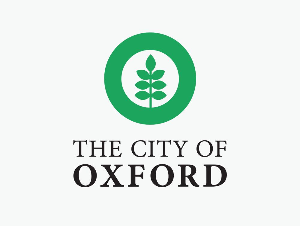 Oxford MS logo, grey on green, by Confit, Oxford MS logo design